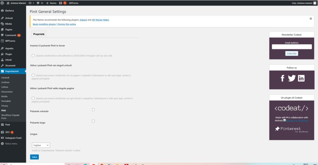 configurare Pinterest sul sito web WordPress